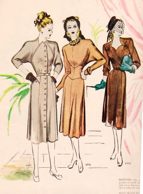 "Dior's ""New Look"" appeared in Feb. 1947.  These McCall patterns were titled ""A new and different look"", published in Aug. 1947."