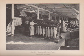 One of the many illustrations of textile industry jobs in Woolman's book, Textiles.