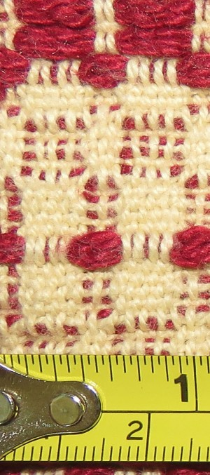 Mine - about 30 ends per inch, with a warp of 8/2 unmercerized cotton.