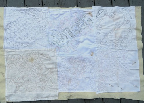 Practice piece from old linen napkins.
