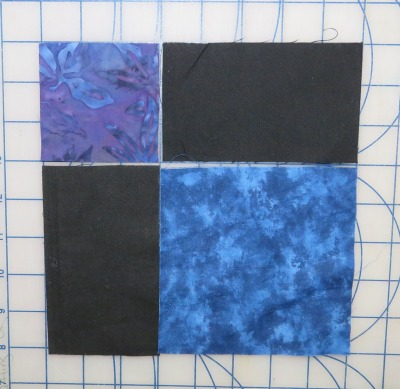 I used a pre-cut 5-inch square, and cut two setting strips and a small 3-inch square.