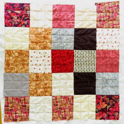 I stitched smaller squares in the large ones.