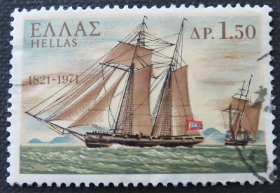 Sailing ship on a Greek stamp.