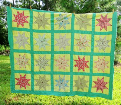 1950s quilt, tied and very lightly quilted.
