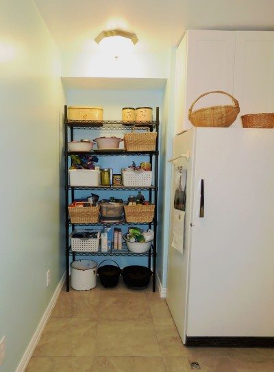 Pantry area, built into the space between piers, that previously was just walled up.