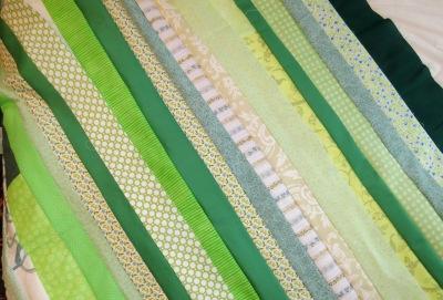Green fabrics.