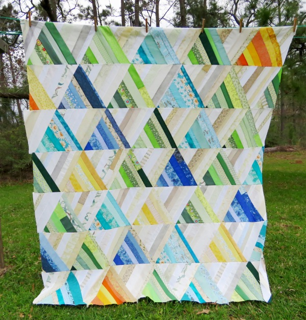 Quilt top based on Papers and Plums by Alexandra Ledgerwood.