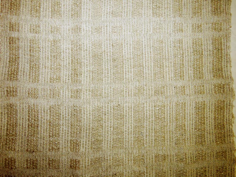 One-shuttle overshot weave in neutral rayon/linen blend.