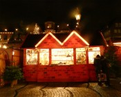 Booth of lovely wooden ornaments.