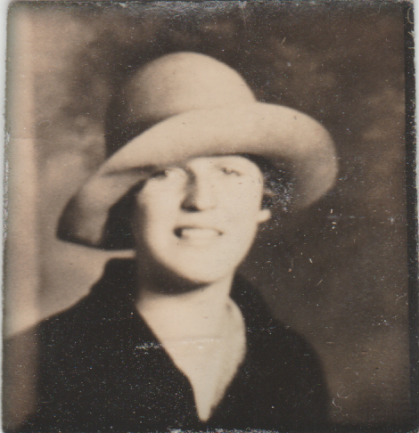 old photo of a woman in a big hat