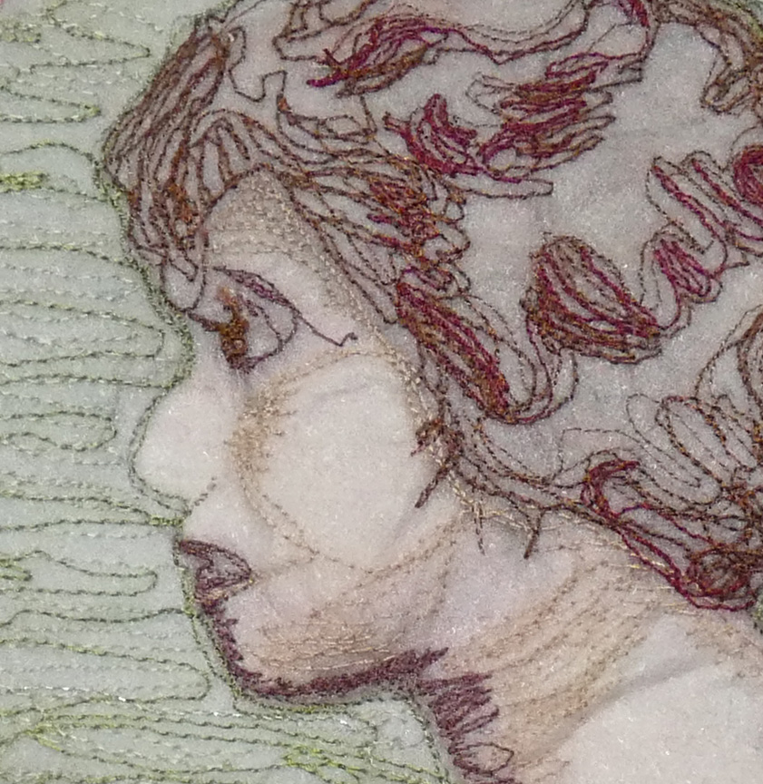 detail of thread-sketched portrait