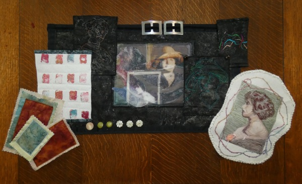 art quilt of computer and old photos