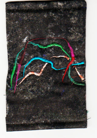 machine-embroidered lines