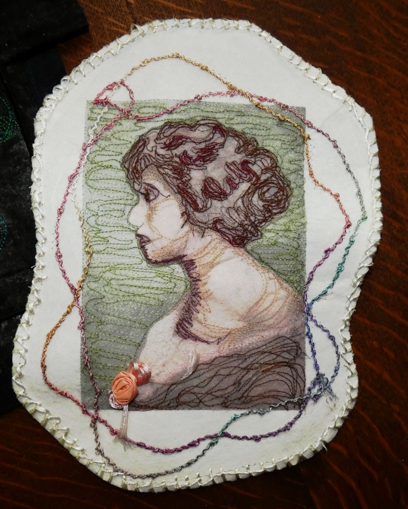 Thread sketched portrait from a vintage photo.