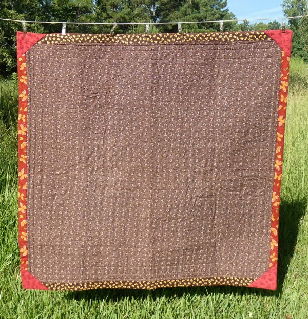 back of lap quilt, showing facings