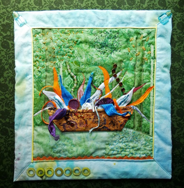 art quilt representation of Chihuly's Fiori Boat