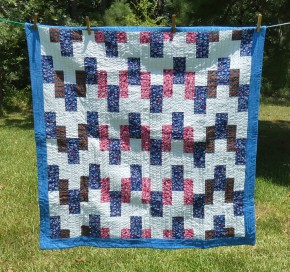 lap quilt in red, white, blue