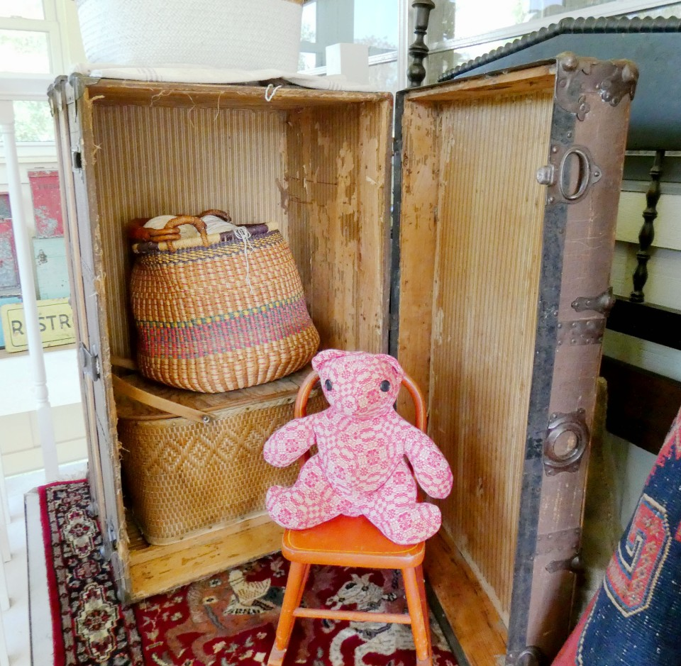 old trunk and teddy bear