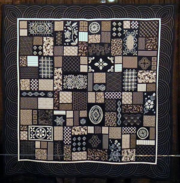 shibori and sashiko fabrics in a quilt