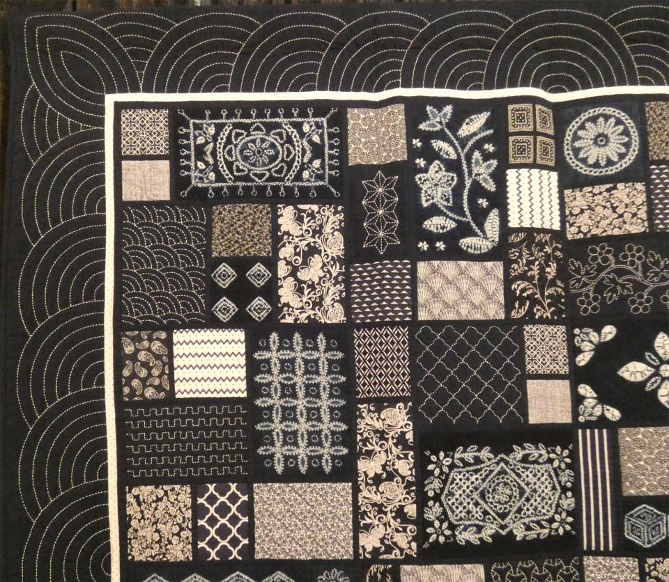 shibori and sashiko in a quilt