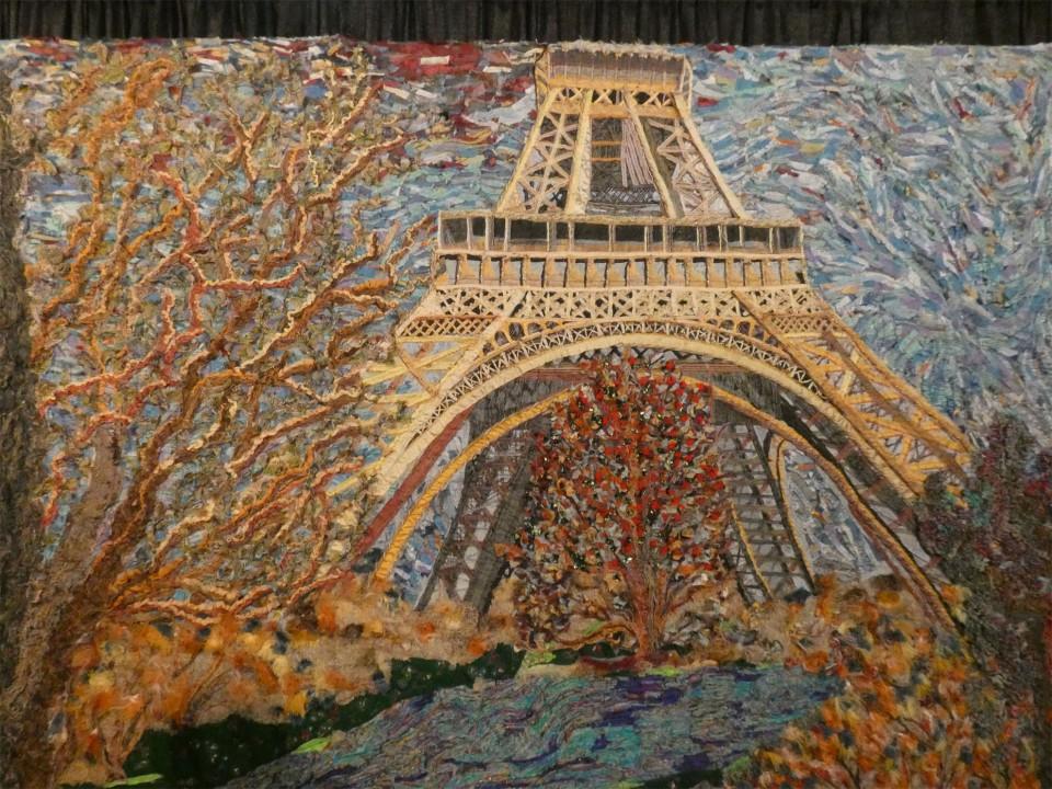 art quilt of Eiffel Tower
