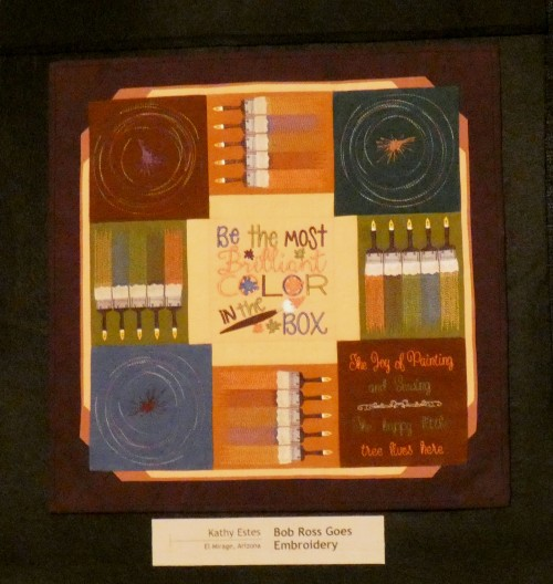 bob ross art quilt by kathy estes