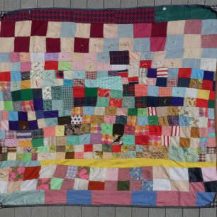 1970s quilt of polyester scraps