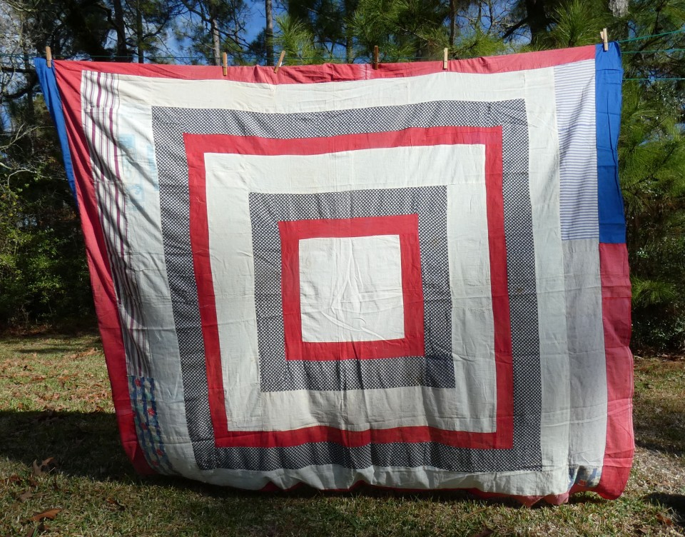 vintage quilt top with design of large squares