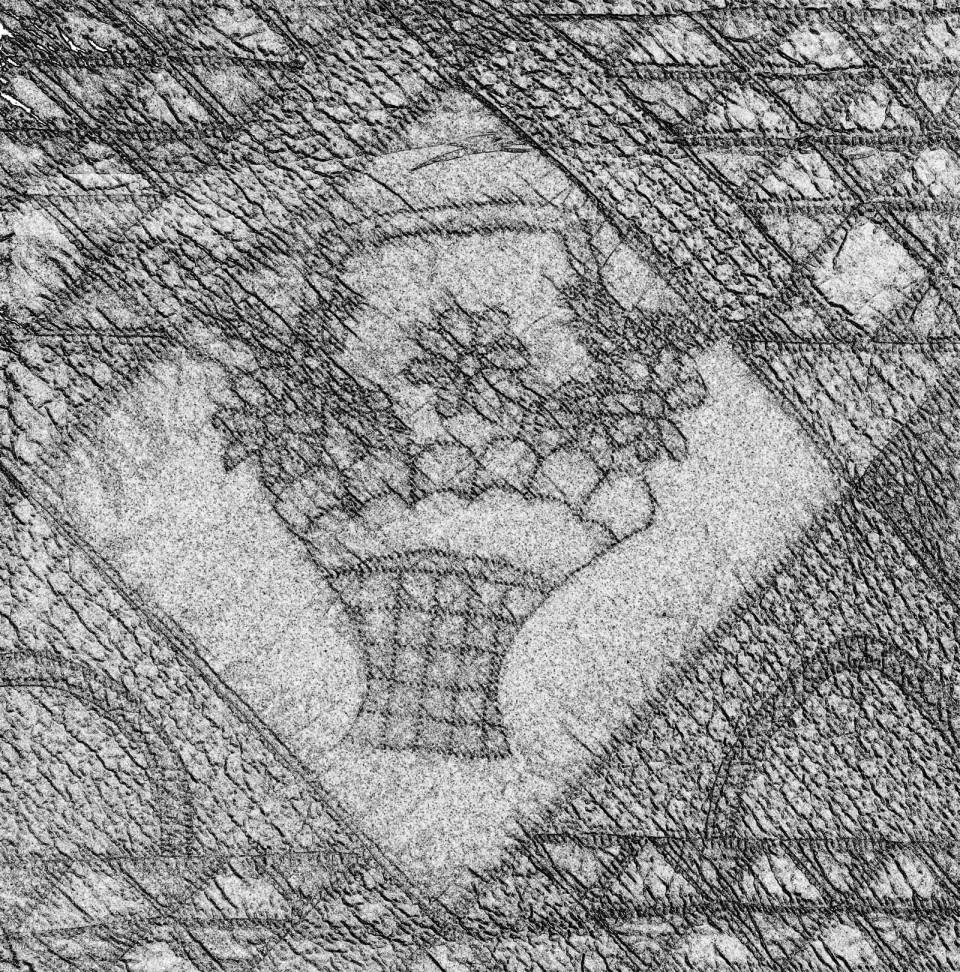 design for flower basket stitching