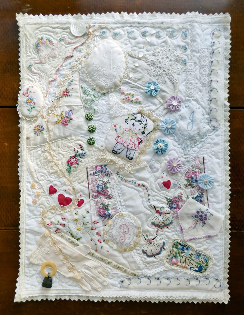 crazy quilt of vintage embroidered textiles