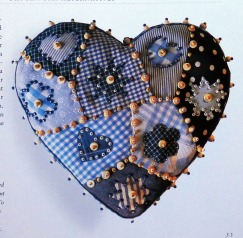 Crazy patchwork beaded heart from Janet Haigh's book.