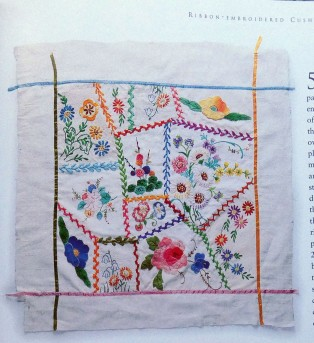 Old embroidery patchwork in Janet Haigh's book.