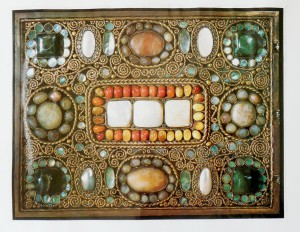 rectangle with set precious stones and wire spirals
