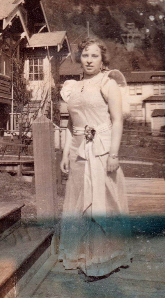 woman in formal dress, Alaska, 1930s
