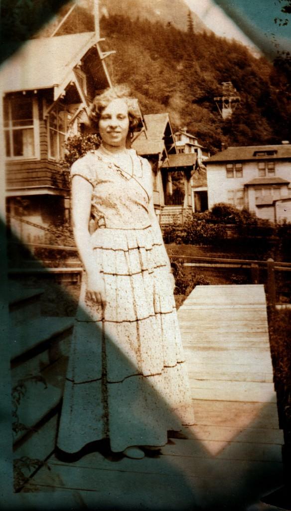 woman in long cotton dress, 1930s