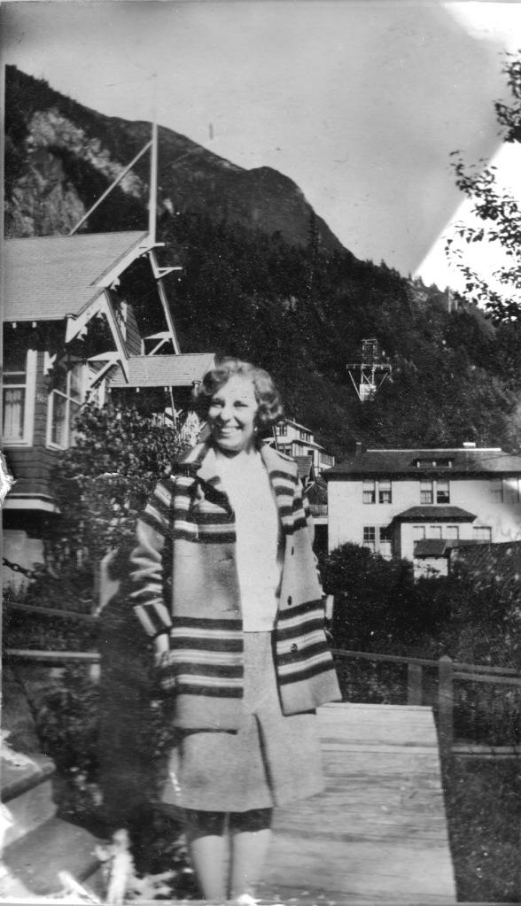 woman in striped jacket, Alaska, 1930s