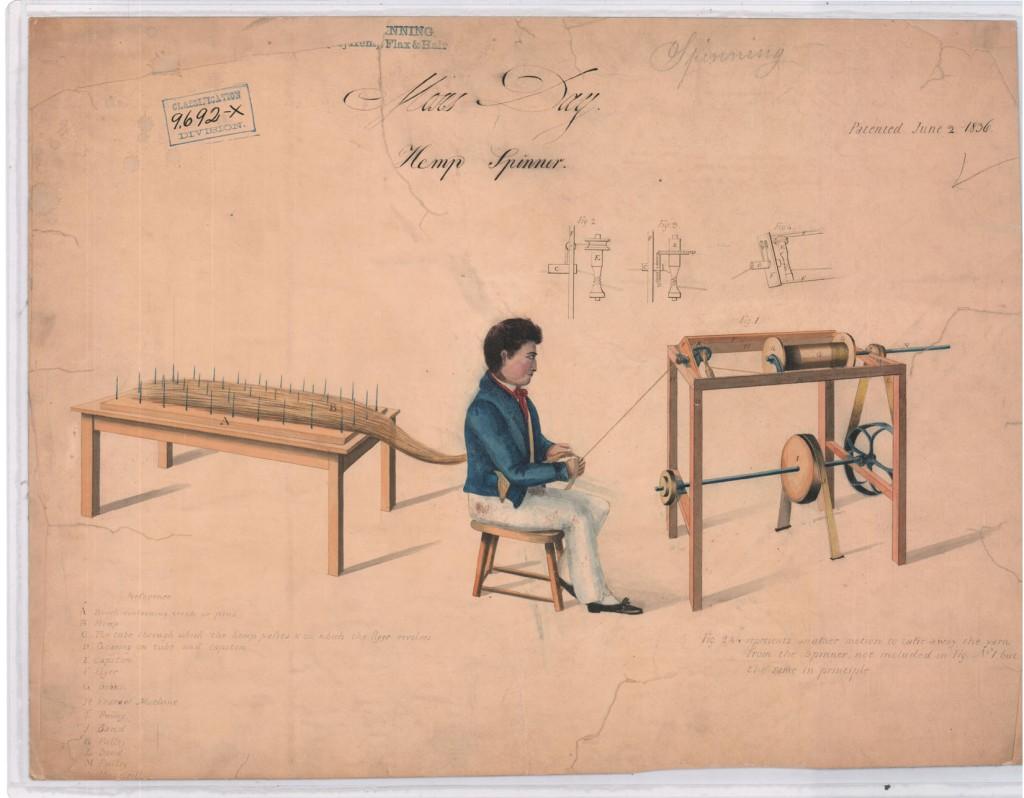 patent drawing of hemp processing machinery, 1836